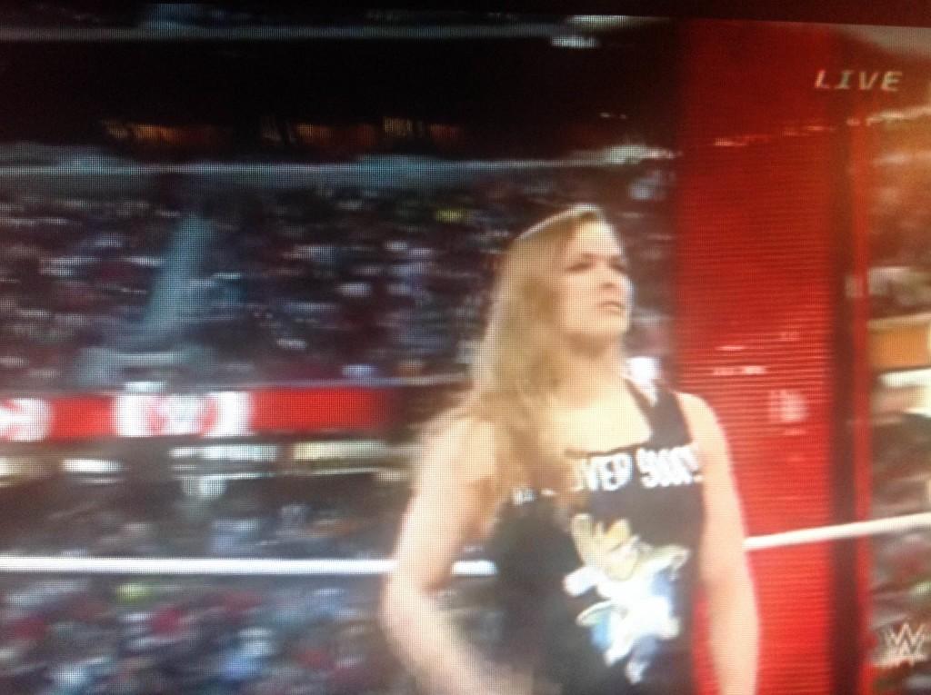 Ronda Rousey wearing a Vegeta Over 9000!!! shirt