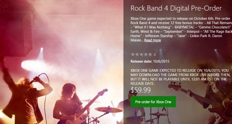 Nueva búsqueda en Xbox.com revela el DLC de Rock Band 4